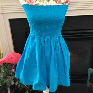 Hollister Elastic Top Strapless Blue Dress